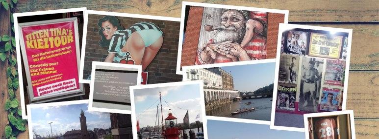 Bilder von Hamburg in einer Collage mit Bildern aus dem Kiez. - BAHNHIT.DE, © Petra Lillich